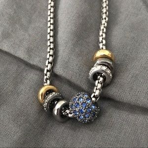 Blue pave slide necklace Swarovski crystal